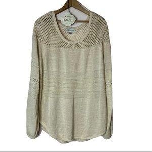 KNOX ROSE Oatmeal Sweater Open Knit Plus Size XXL